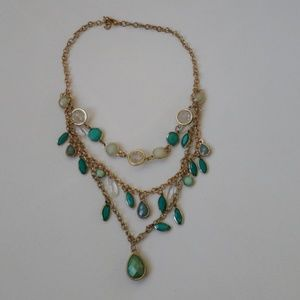 Gold and green layered necklace